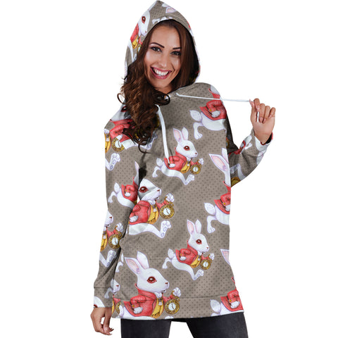 Hurry Up White Rabbit Alice In Wonderland Women's Hoodie Dress - STUDIO 11 COUTURE