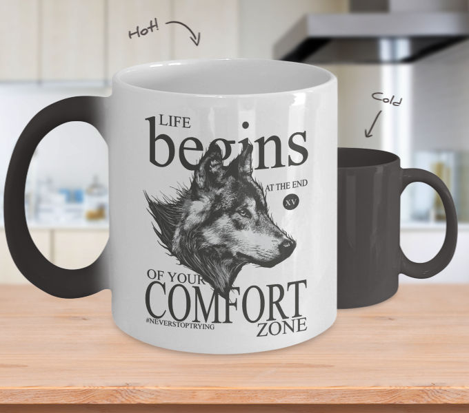 Color Changing Mug Animals Life Begins At The End Of Your Comfort Zone