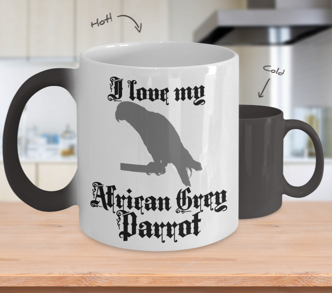 Color Changing Mug Random Theme I Love My African Grey Parrot