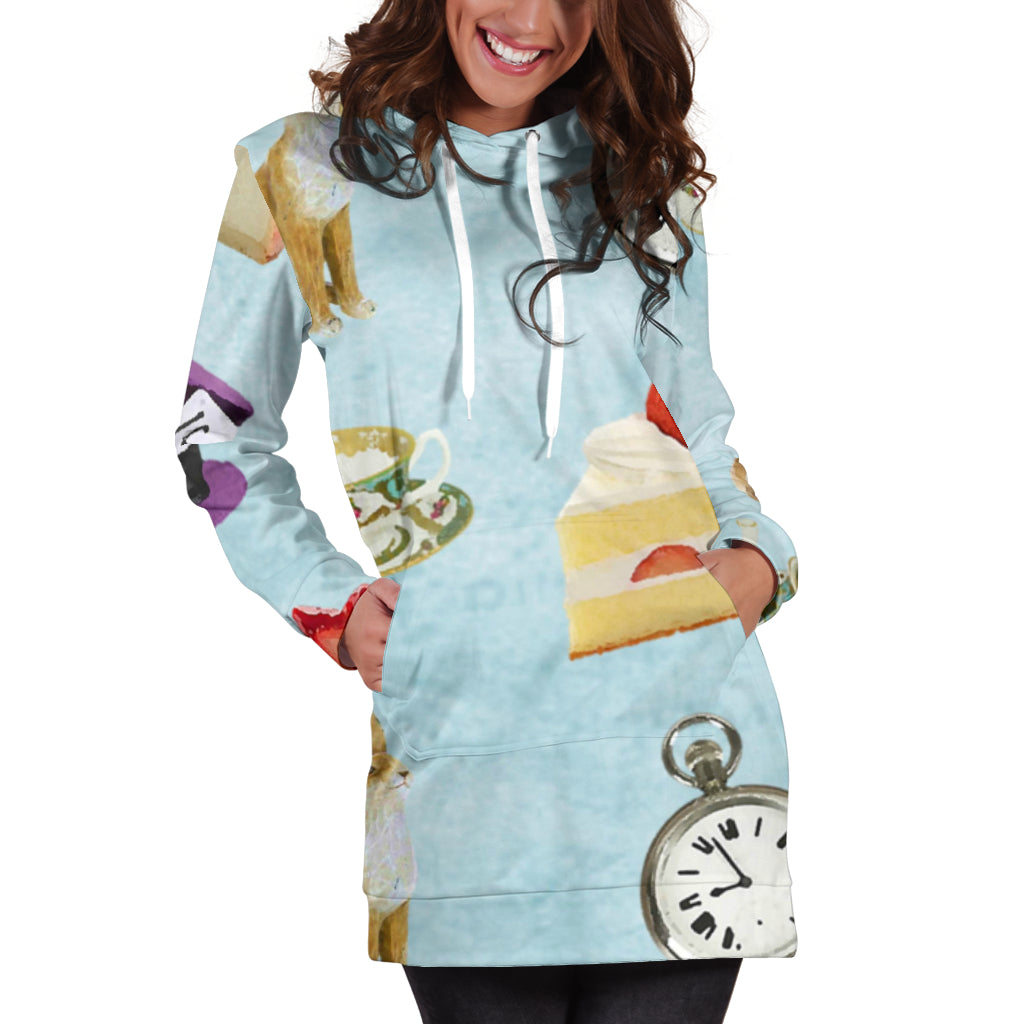 Studio11Couture Women Hoodie Dress Hooded Tunic Cake And Watch Alice In Wonderland Athleisure Sweatshirt