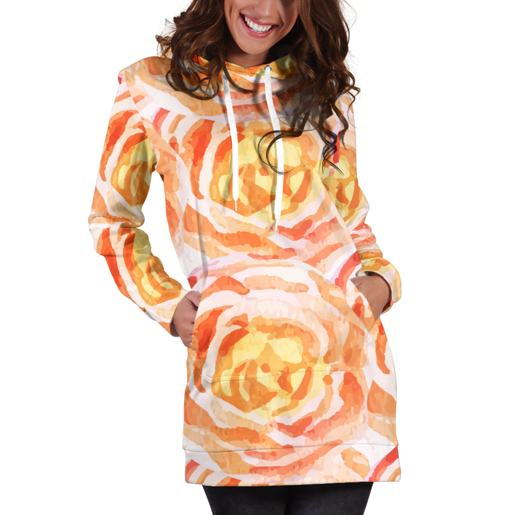 Studio11Couture Women Hoodie Dress Hooded Tunic Admirable Floral Spring Athleisure Sweatshirt