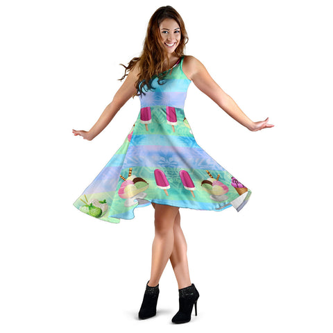 Women's Dress, No Sleeves, Custom Dress, Midi Dress, Ice Cream 1-02