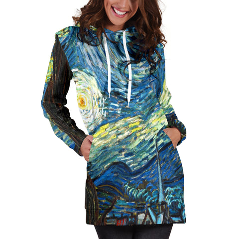 Vincent Van Gogh Starry Night Women's Hoodie Dress - STUDIO 11 COUTURE