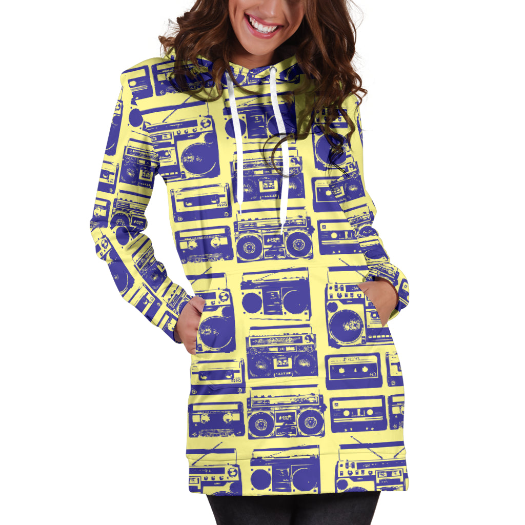 Studio11Couture Women Hoodie Dress Hooded Tunic 80s Purple Boombox Athleisure Sweatshirt