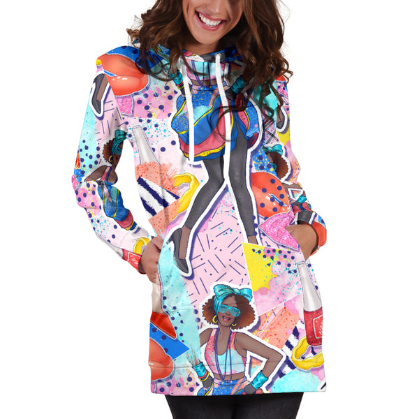 Studio11Couture Women Hoodie Dress Hooded Tunic 80s Swag Fashion Girl Athleisure Sweatshirt