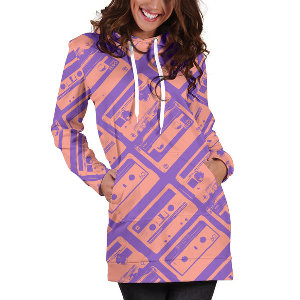 Studio11Couture Women Hoodie Dress Hooded Tunic 80s Pink Boombox Athleisure Sweatshirt