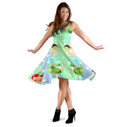 Women's Dress, No Sleeves, Custom Dress, Midi Dress, Ice Cream 1-04
