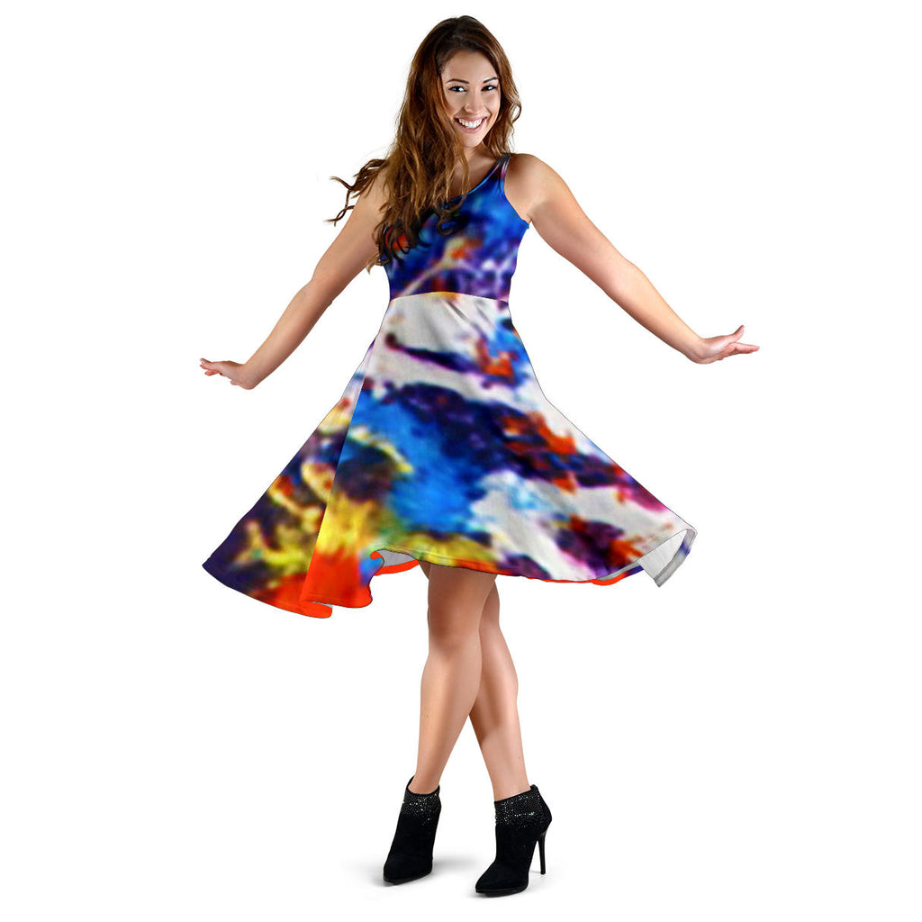 Women's Dress, No Sleeves, Custom Dress, Midi Dress, Candy 09