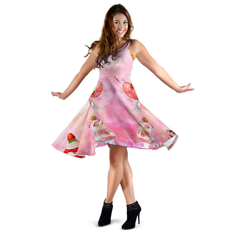 Women's Dress, No Sleeves, Custom Dress, Midi Dress, Ice Cream 1-08