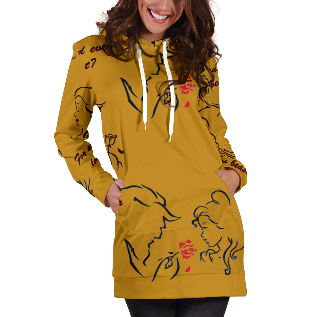 Beauty And The Beast Love Sexy Trendy Women Teen Long Sleeves Hoodie Dress Hooded Tunic - STUDIO 11 COUTURE