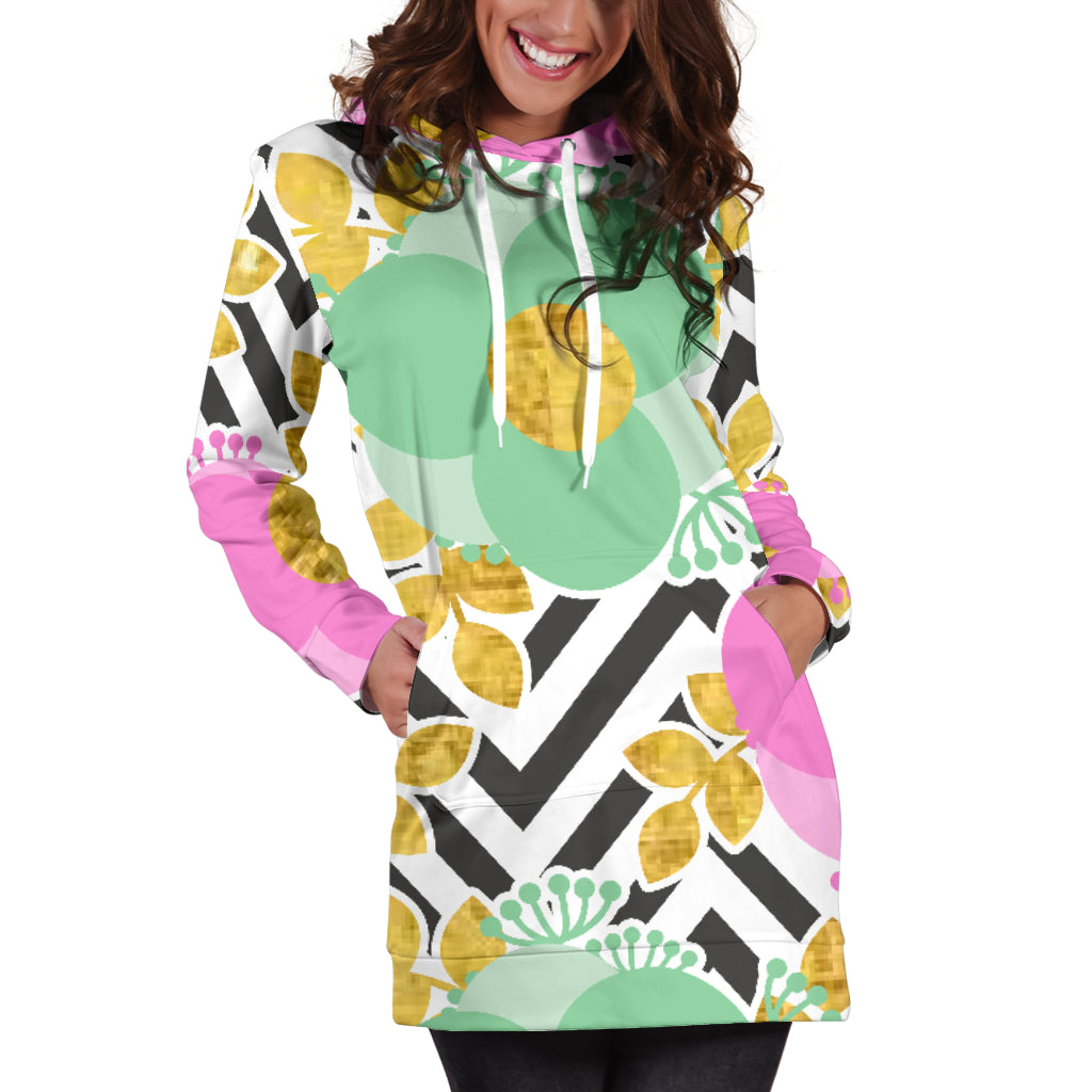 Black and White Zigzag Floral Spring Women's Hoodie Dress