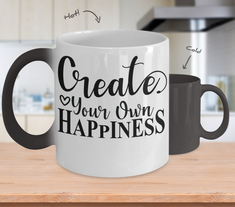 Color Changing Mug Funny Mug Inspirational Quotes Novelty Gifts Create Your On Happiness