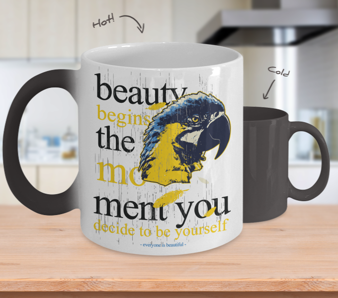 Color Changing Mug Animals Beauty Begins The Moment You Decide To Be Yourself