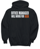 Image of Women and Men Tee Shirt T-Shirt Hoodie Sweatshirt Office Manager Will Work For Beer