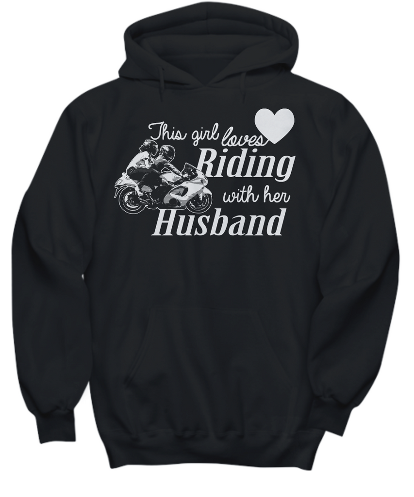 Women and Men Tee Shirt T-Shirt Hoodie Sweatshirt This Girl Loves Riding With Her Husband