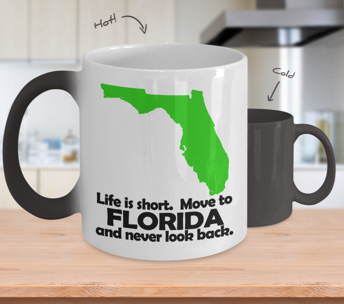 Color Changing Mug Love Where You Live Theme Life Is Short. Move To Florida And Never Look Back