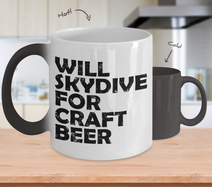 Color Changing Mug Drinking Theme Will Skydive For Craft Beer