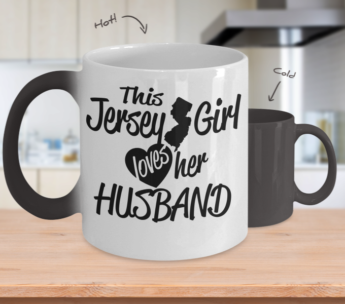 Color Changing Mug Love Where You Live Theme This Jersey Girl Loves Her Husband