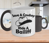 Image of Color Changing Mug Funny Theme save A Cowboy Ride A Bailiff