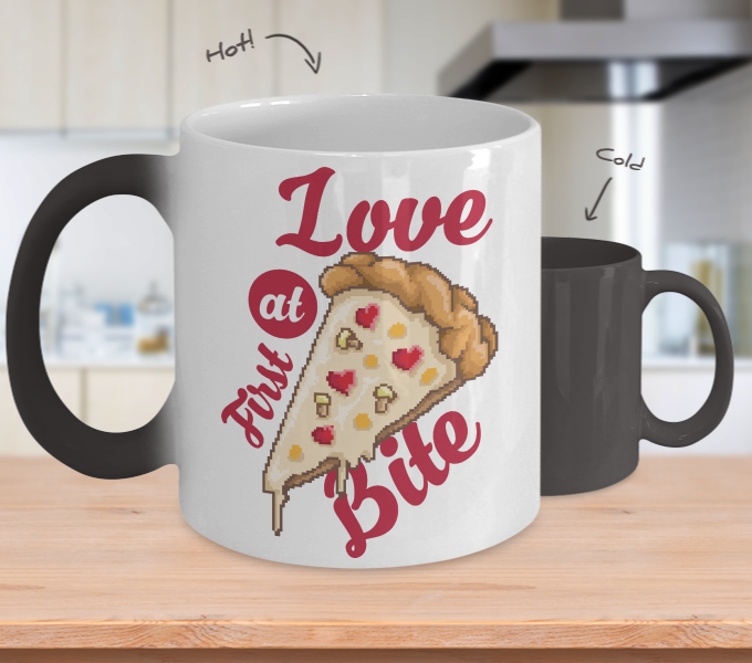 color Changing Mug Retro 80s 90s Nostalgic Love At First Bite