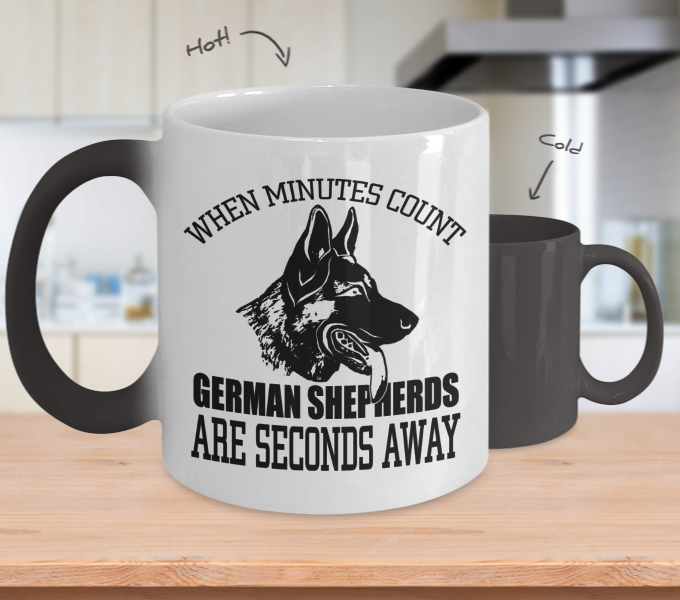 Color Changing Mug Dog Theme When Minutes Count German Sheperds Are Seconds Away