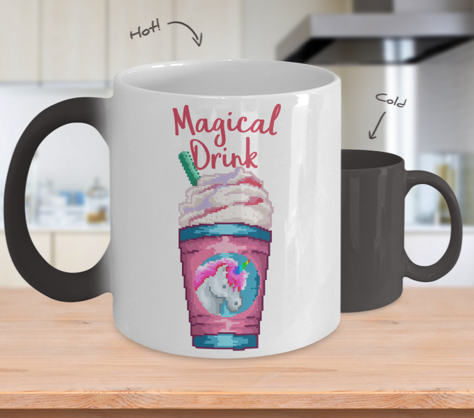 Color Changing Mug Retro 80s 90s Nostalgic Magical Unicorn Drink