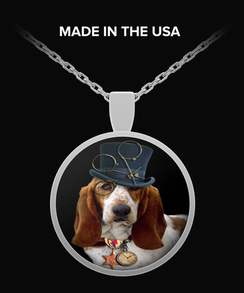 steampunk dog basset hound Necklace Round Pendant