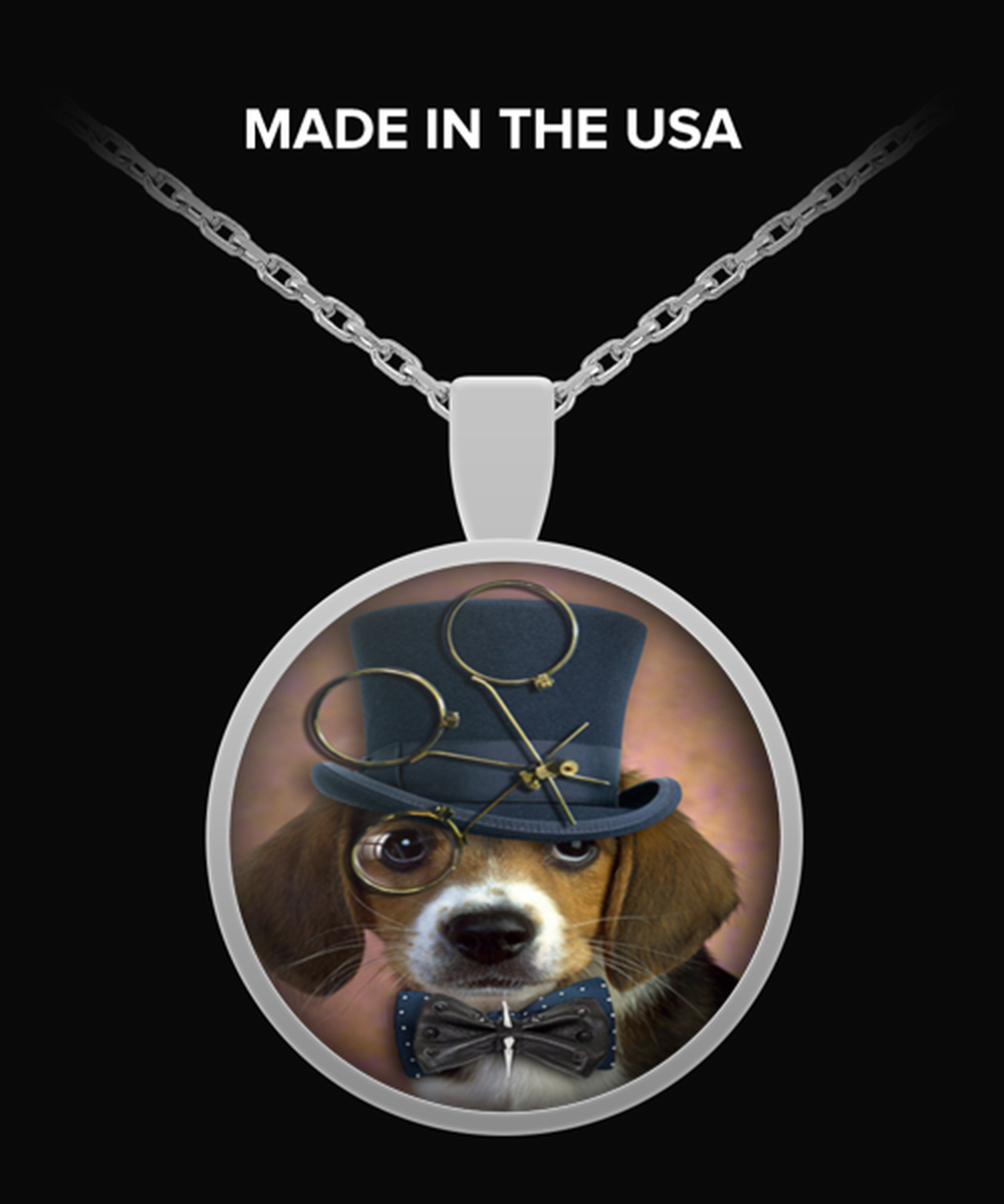 steampunk dog beagle Necklace Round Pendant