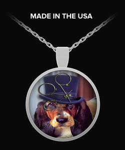 steampunk dog bull dog Necklace Round Pendant