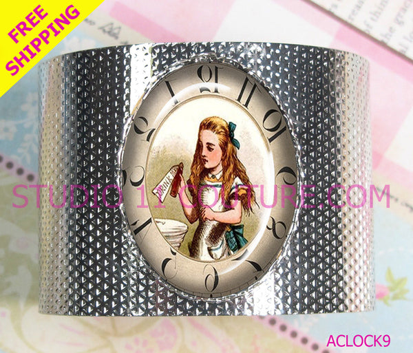 FREE SHIPPING: Backwards Reverse Clock Alice in Wonderland Bracelet Cuff Glass Cabochon Vintage Inspired Setting. Silver AC9