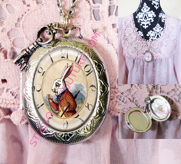 Large Silver Plated Locket Necklace Alice in Wonderland Reverse Backwards Clock Watch Face ALICE5.3