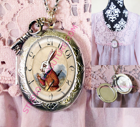 FREE SHIPPING Large Silver Plated Locket Necklace Alice in Wonderland Reverse Backwards Clock Watch Face ALICE5.3