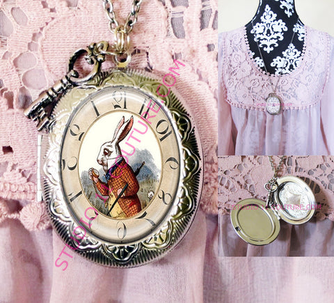 FREE SHIPPING Large Silver Plated Locket Necklace Alice in Wonderland Reverse Backwards Clock Watch Face ALICE5.6