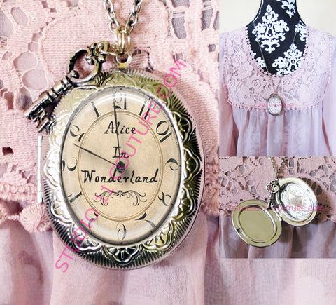 FREE SHIPPING Large Silver Plated Locket Necklace Alice in Wonderland Reverse Backwards Clock Watch Face ALICE5.7