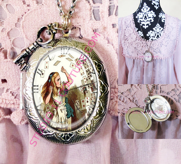 Large Silver Plated Locket Necklace Alice in Wonderland Reverse Backwards Clock Watch Face ALICE5.15