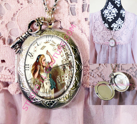 FREE SHIPPING Large Silver Plated Locket Necklace Alice in Wonderland Reverse Backwards Clock Watch Face ALICE5.15