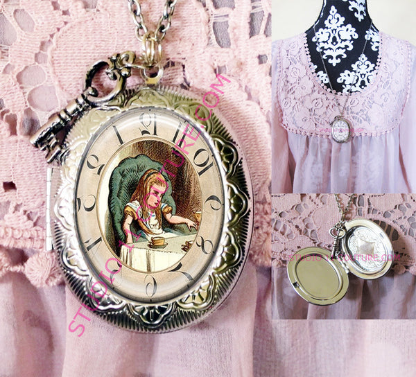 FREE SHIPPING Large Silver Plated Locket Necklace Alice in Wonderland Reverse Backwards Clock Watch Face ALICE5.18
