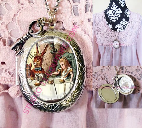 FREE SHIPPING Large Silver Plated Locket Necklace Alice in Wonderland Reverse Backwards Clock Watch Face ALICE5.19