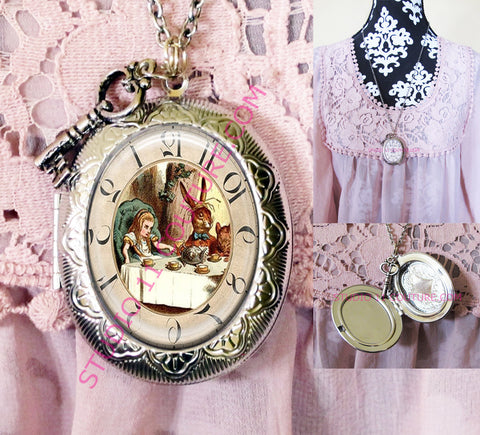 FREE SHIPPING Large Silver Plated Locket Necklace Alice in Wonderland Reverse Backwards Clock Watch Face ALICE5.20