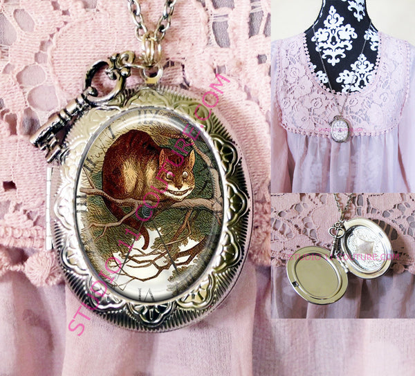 FREE SHIPPING Large Silver Plated Locket Necklace Alice in Wonderland Reverse Backwards Clock Watch Face ALICE5.21