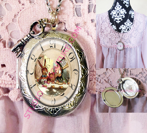 FREE SHIPPING Large Silver Plated Locket Necklace Alice in Wonderland Reverse Backwards Clock Watch Face ALICE5.24