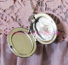 FREE SHIPPING Large Silver Plated Locket Necklace Alice in Wonderland Reverse Backwards Clock Watch Face ALICE5.1