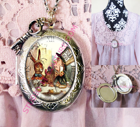 FREE SHIPPING Large Silver Plated Locket Necklace Alice in Wonderland Reverse Backwards Clock Watch Face ALICE5.8