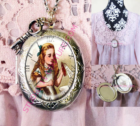 FREE SHIPPING Large Silver Plated Locket Necklace Alice in Wonderland Reverse Backwards Clock Watch Face ALICE5.12