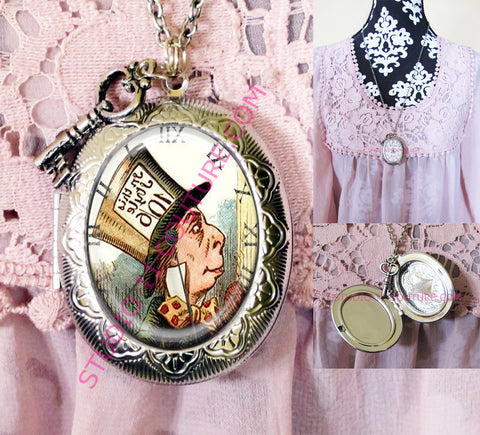 FREE SHIPPING Large Silver Plated Locket Necklace Alice in Wonderland Reverse Backwards Clock Watch Face ALICE5.13