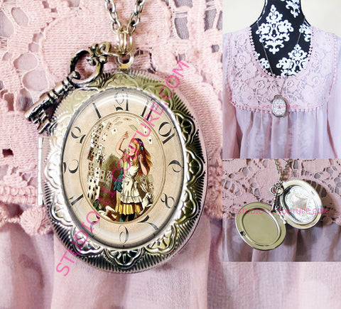 FREE SHIPPING Large Silver Plated Locket Necklace Alice in Wonderland Reverse Backwards Clock Watch Face ALICE5.16