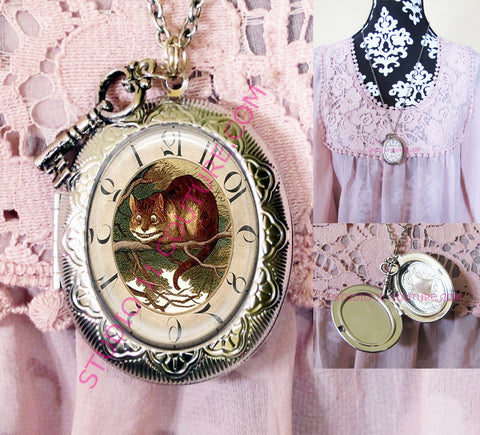 FREE SHIPPING Large Silver Plated Locket Necklace Alice in Wonderland Reverse Backwards Clock Watch Face ALICE5.22