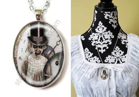 FREE Shipping Silver Plated Metal and Chain Necklace Gothic Steampunk. ZOMBIE STEAMPUNK 20.2