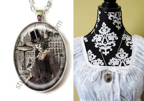 FREE Shipping Silver Plated Metal and Chain Necklace Gothic Steampunk. ZOMBIE STEAMPUNK 20.10