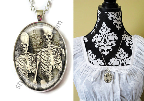 FREE Shipping Silver Plated Metal and Chain Necklace Gothic Steampunk. ZOMBIE STEAMPUNK 20.3